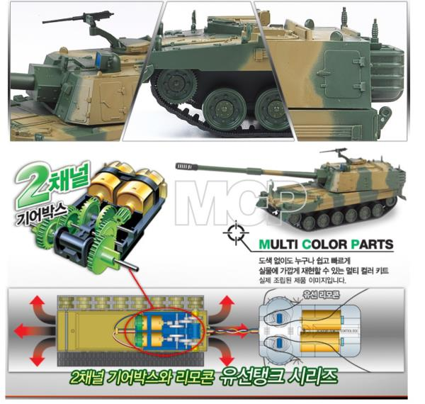 Academy #13312 1//48th R.O.K ARMY K9 MCP Wire Control Armor Model Kit with Motor