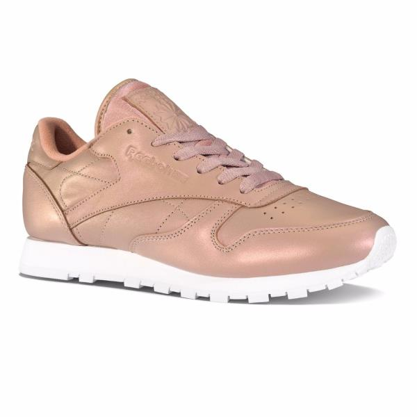 Details about [BD4308] Womens Reebok Classics Leather Pearlized Sneaker Rose Gold
