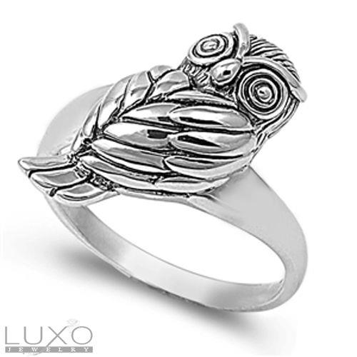Size 5,25-7 US Silver owl ring Made to Order