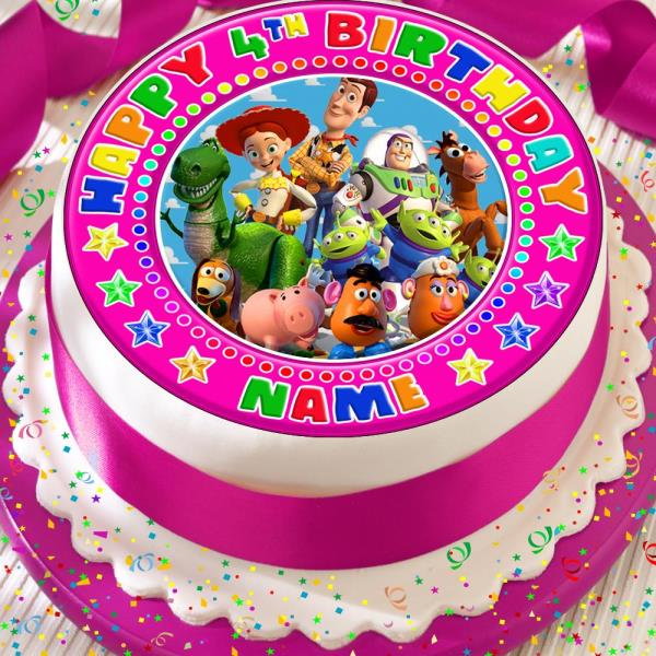 Amazing Toy Story Birthday Personalised Pink 7 5 Inch Precut Edible Cake Personalised Birthday Cards Rectzonderlifede