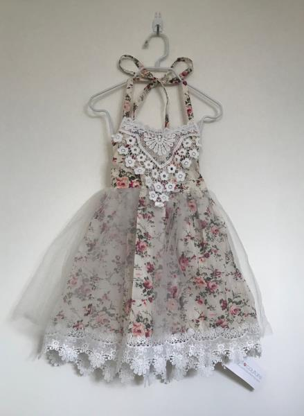 Just Couture Della Ivory Floral /& Lace Bib Halter Dress Toddler Girls Size 3 NEW