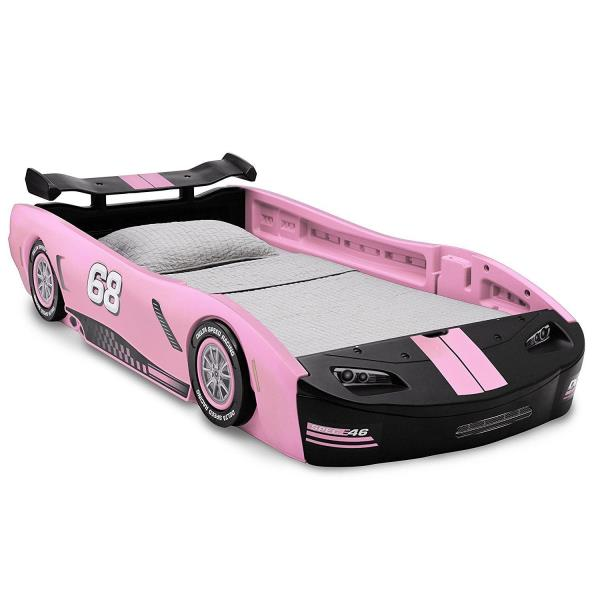 Details About Girls Pink Race Car Bed Frame Twin Size Platform Plastic Kids Bedroom Furniture