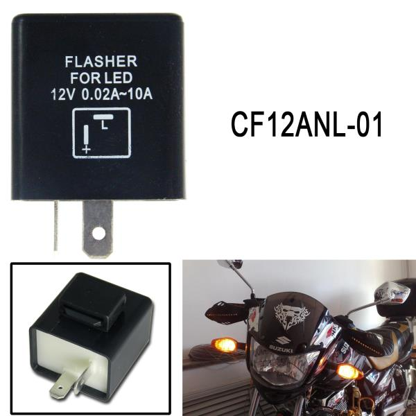 2-Pin LED Flasher Relay FIX Motorcycle Turn Signal Bulbs Hyper Flash Lighting