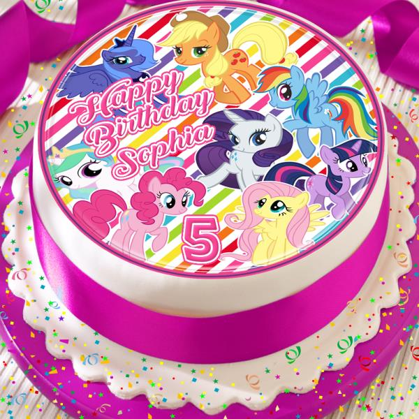Amazing My Little Pony Happy Birthday Personalised 7 5 Inch Edible Cake Funny Birthday Cards Online Alyptdamsfinfo