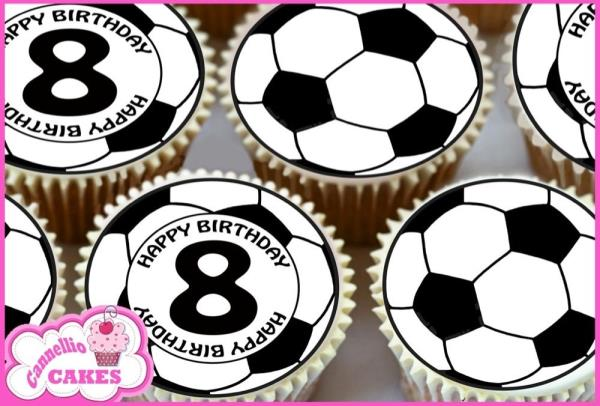 24 x 8TH HAPPY BIRTHDAY FOOTBALL EDIBLE CUPCAKE TOPPERS CAKE RICE PAPER 8500