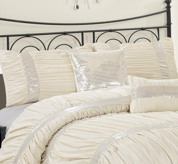 Queen Cal King Bed Ivory Cream Silver Sequin Striped 7 pc ...