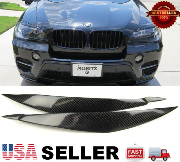 FOR 08-14 BMW E71 X6 X6M REAL CARBON FIBER HEADLIGHT EYE LID COVER PAIR EYEBROWS