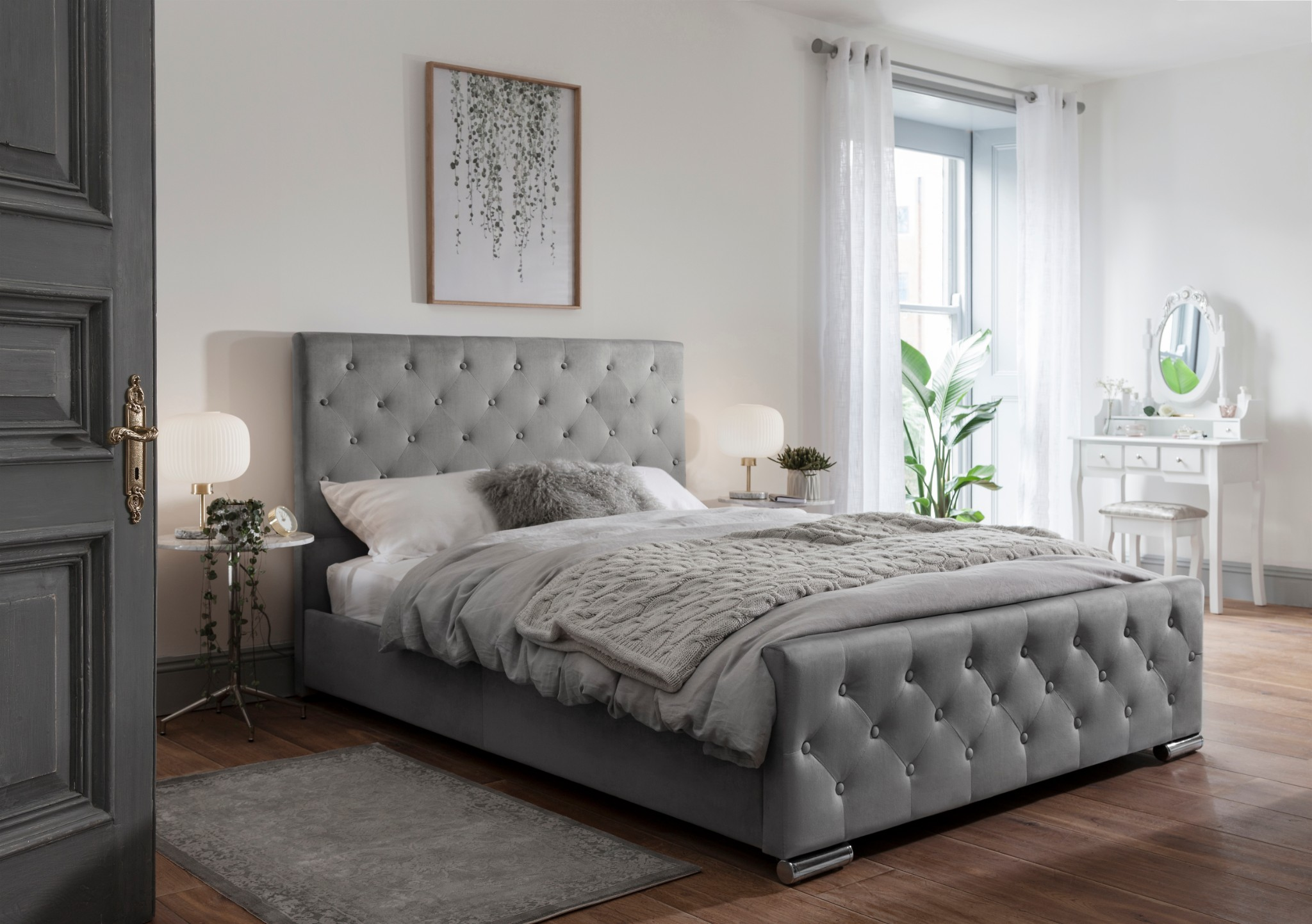 Grey Fabric Bed Frame Upholstered Double King Size Ebay
