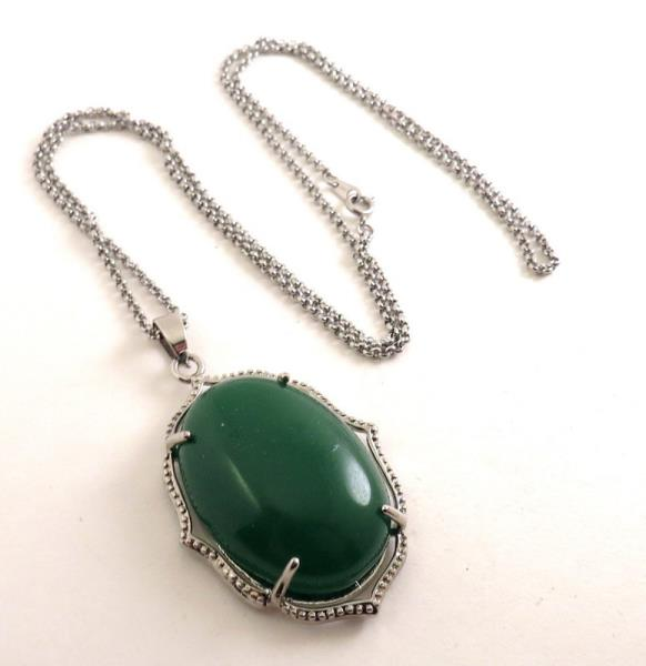 Natural Vintage Chrysoprase handmade 925 Silver plated Pendant Jewelry Z12989