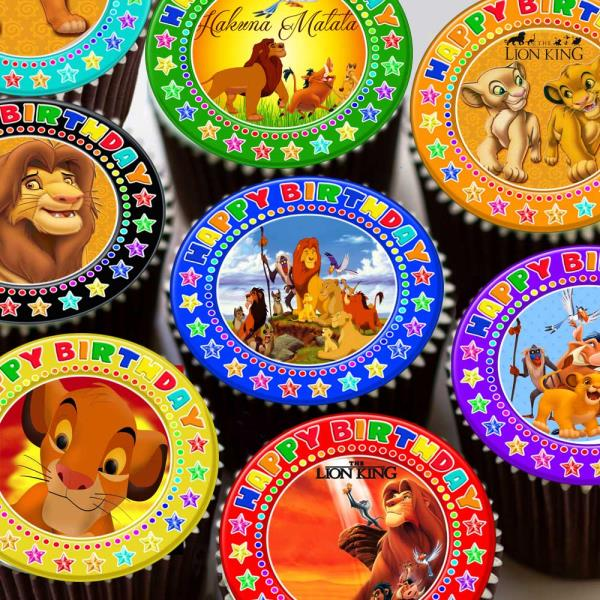 Strange Lion King Mixed Images Happy Birthday Border Edible Cupcake Topper Funny Birthday Cards Online Barepcheapnameinfo