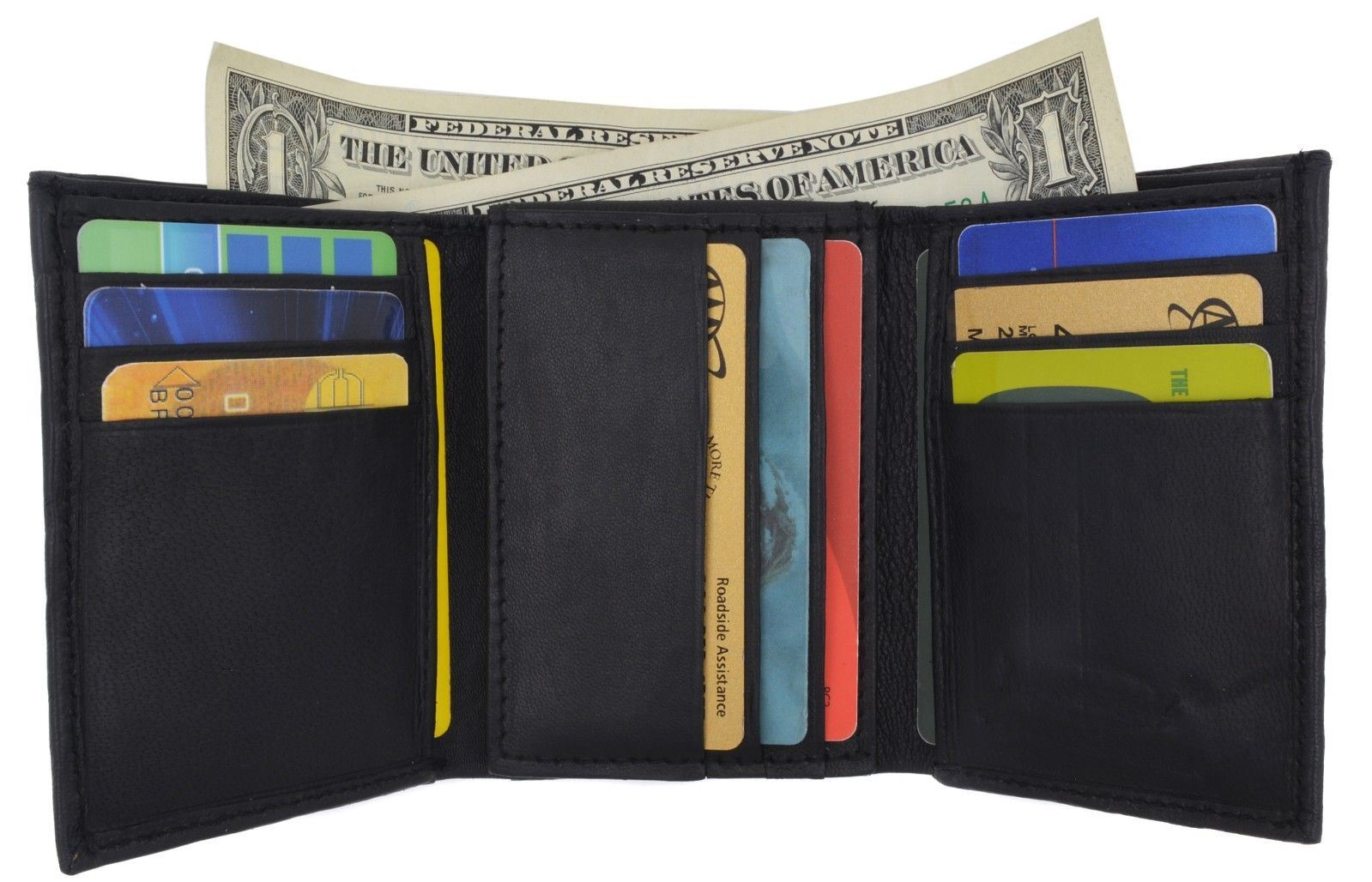 Men/'s Lambskin Leather Trifold Center Flap Double ID Credit Card Holder Wallet