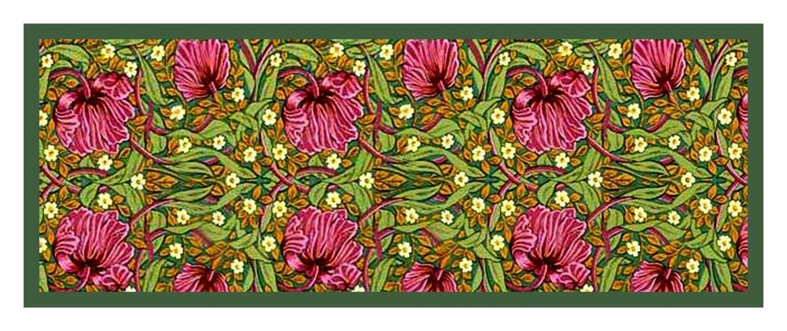 William Morris Green Pimpernel Runner Counted Cross Stitch Pattern