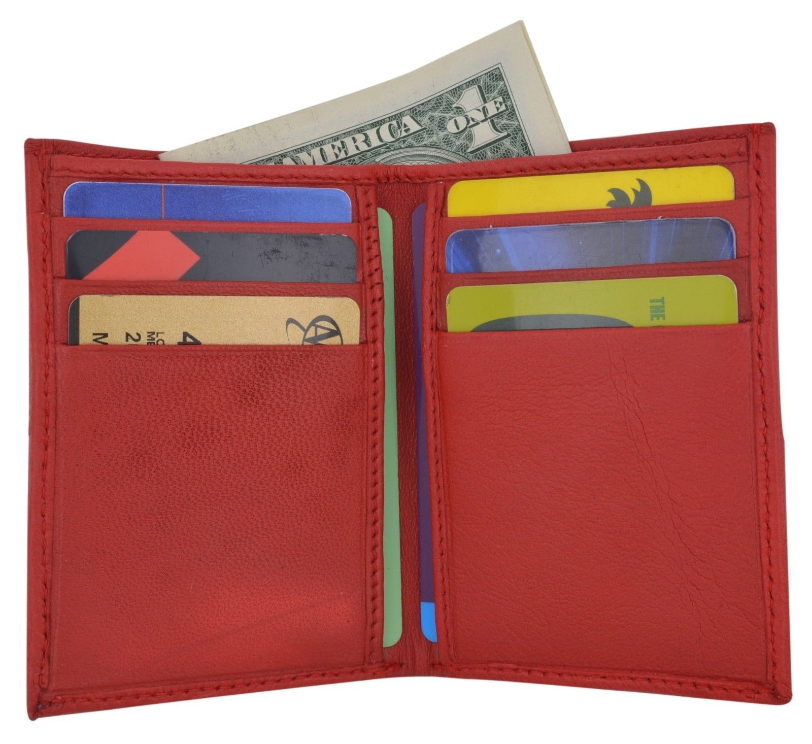 New Slim Thin Mens Bifold Genuine Leather ID Wallet Pink Card Holder 71