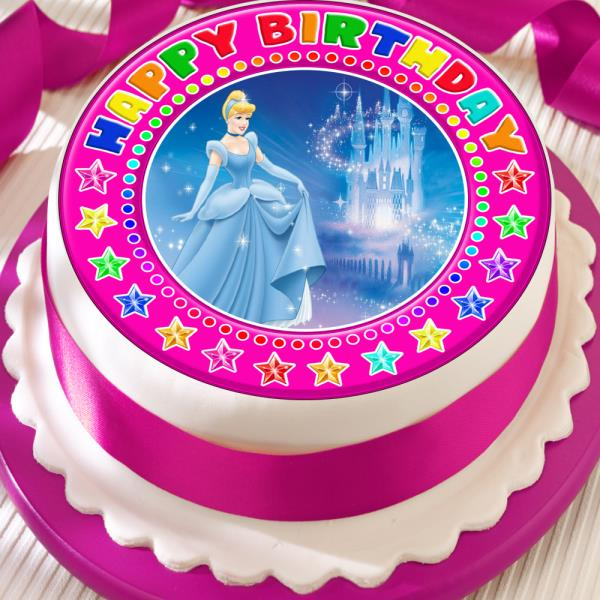 Peachy Cinderella Pink Happy Birthday 7 5 Inch Precut Edible Cake Topper Funny Birthday Cards Online Overcheapnameinfo