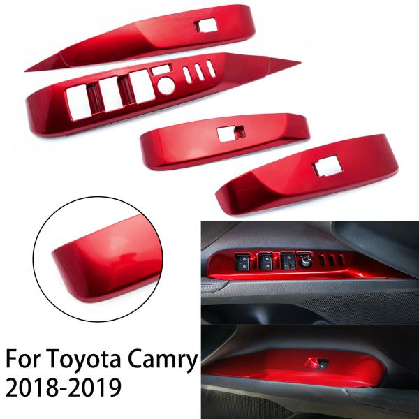 For Toyota Camry 2018 2019 Red quality ABS Car window Lift Switch Panel Trim 4P