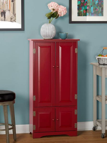 Details about Red Wooden Pantry Cabinet Kitchen Storage Organizer Tall  Cupboard Food Shelves