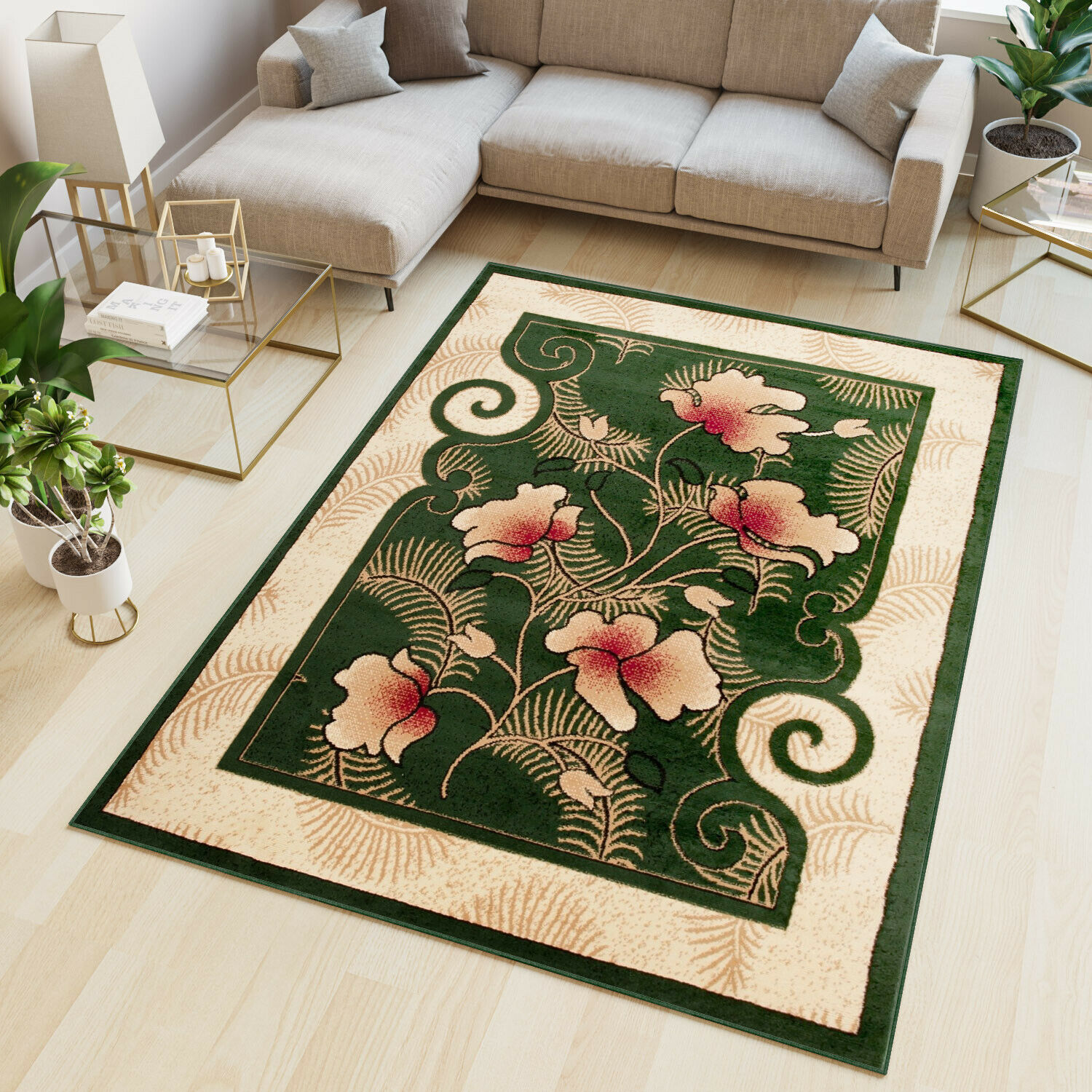 Picture of: Green Area Rug Small Medium Extra Large Classical Designer Carpet Floral Pattern Ebay
