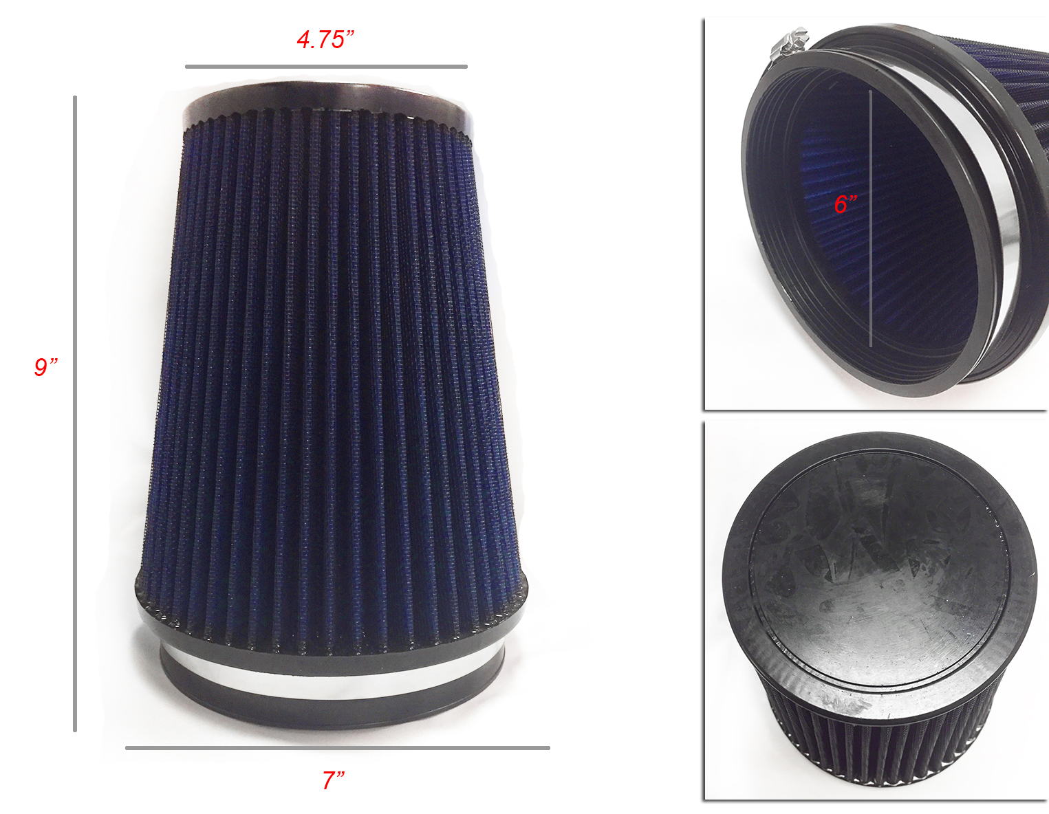 "BLUE 3.5/"" Inlet 89mm Cold Air Intake Cone Dry Universal TRUCK FILTER For Ford"