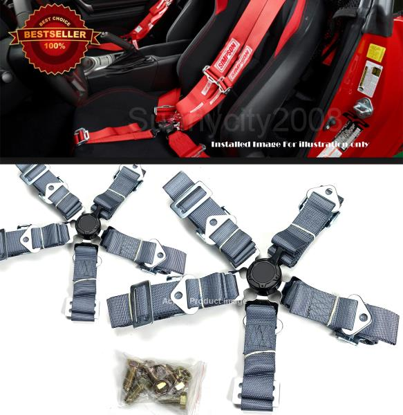 2 x 5-Point Cam Lock Quick Release Black Nylon Harness Seat Belt For Mercedes