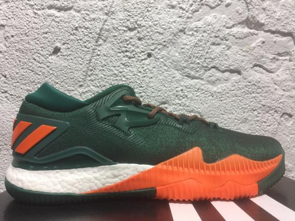 Details about New Men's ADIDAS Crazylight Boost Low 2016 NCAA Miami Hurricanes Shoe B42978