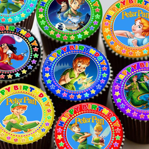 Tremendous Peter Pan Mixed Colourful Happy Birthday Edible Cupcake Topper Personalised Birthday Cards Beptaeletsinfo