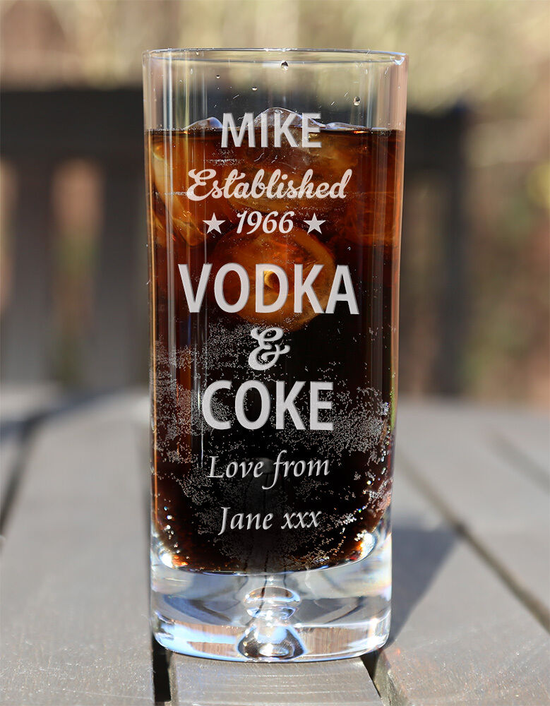 Vodka /& Orange Glass Birthday Gifts Personalised Engraved Vodka Highball Glass