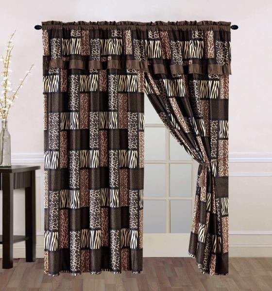 8 Pc Brown Tan Zebra Leopard Curtains Panels Drapes Valance Sheer