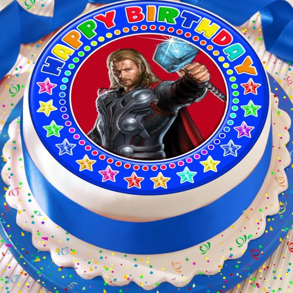 Groovy Thor Happy Birthday 7 5 Inch Precut Edible Cake Topper Decoration Personalised Birthday Cards Paralily Jamesorg