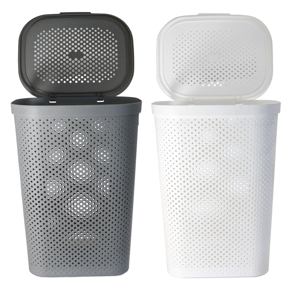 Plastic Laundry Basket Hamper With Lid 60l Laundry Baskets Clothes Storage Bin Ebay