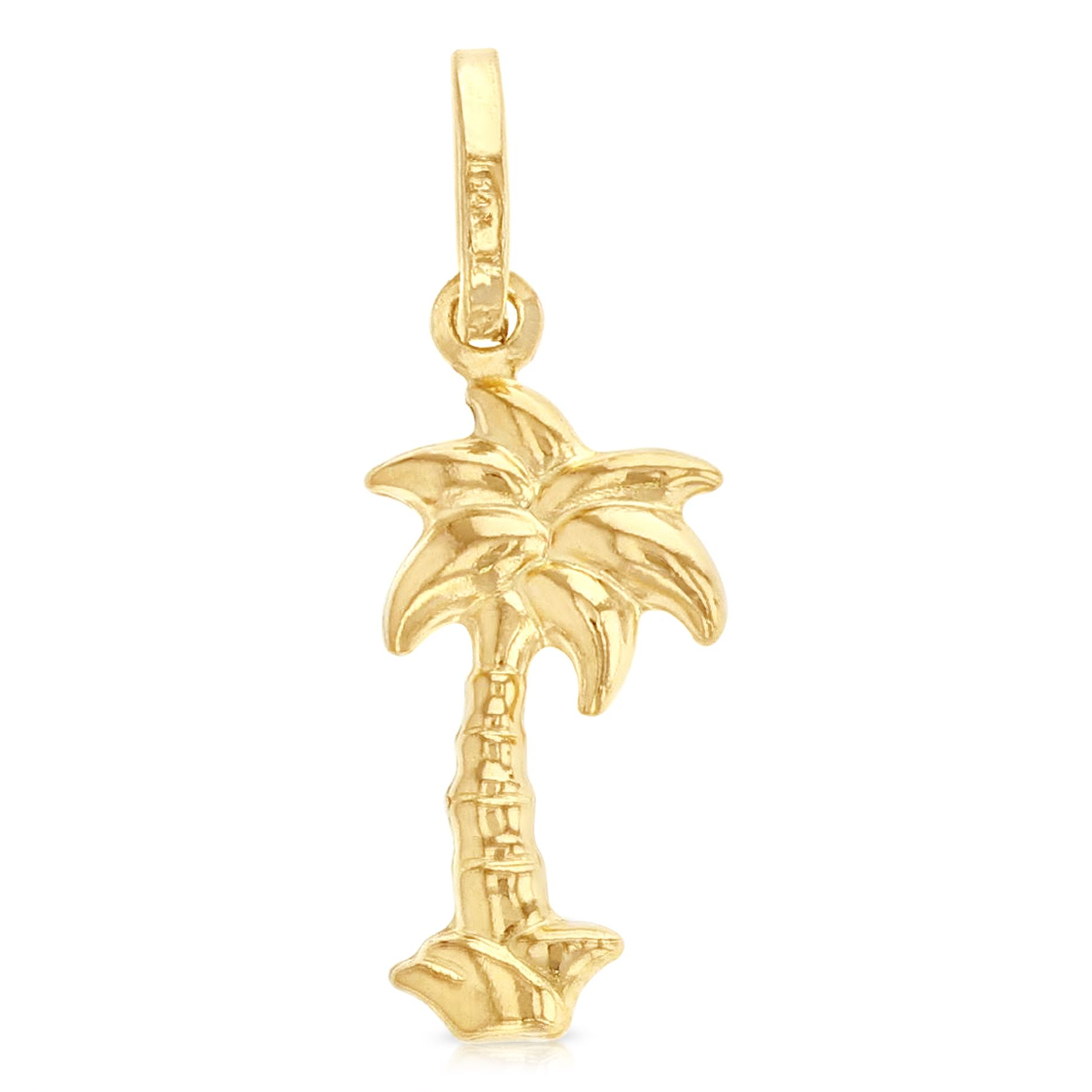 14K Yellow Gold Religious Crucifix Charm Pendant with 0.8mm Box Chain Necklace