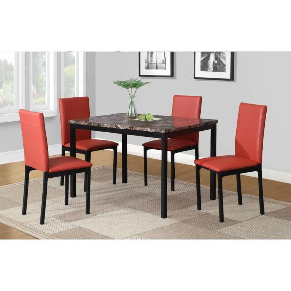 Black White Brown Red 5 Pc Dining Table Set Faux Marble Leather Chairs Dinette Ebay