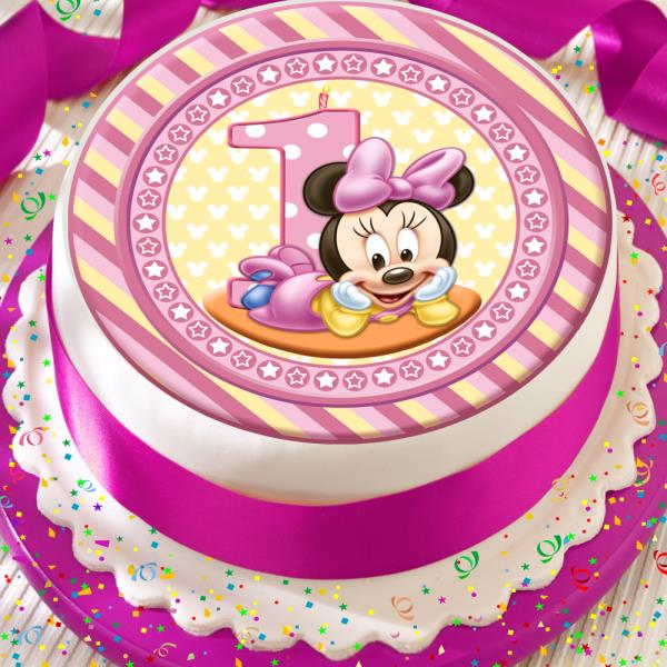 Excellent Minnie Mouse Happy 1St Birthday Pink Candle 7 5 Inch Precut Edible Personalised Birthday Cards Veneteletsinfo
