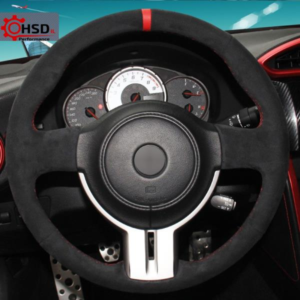 GT86 Fit for Toyota 86 2016-2020 Subaru BRZ 2016 2017 2018 2019-2020 WOLDce Black Suede Hand Sew Car Steering Wheel Cover