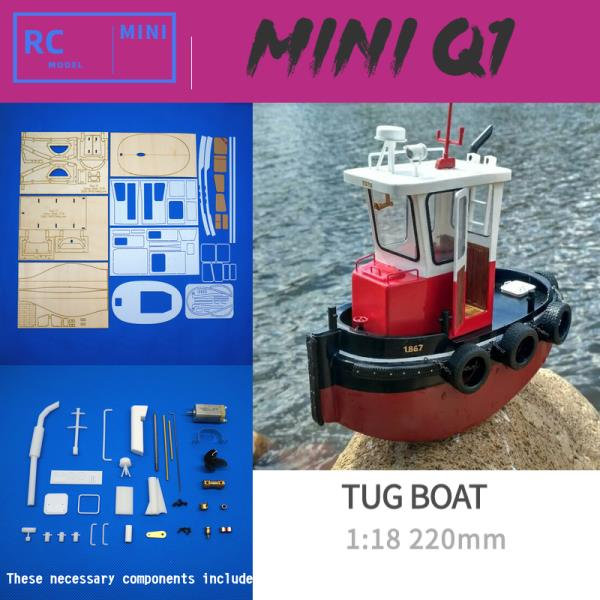 Mini Tugboat Rescue Simulation RC Scale 1:18 ABS Wooden Boat Model Ship Kit