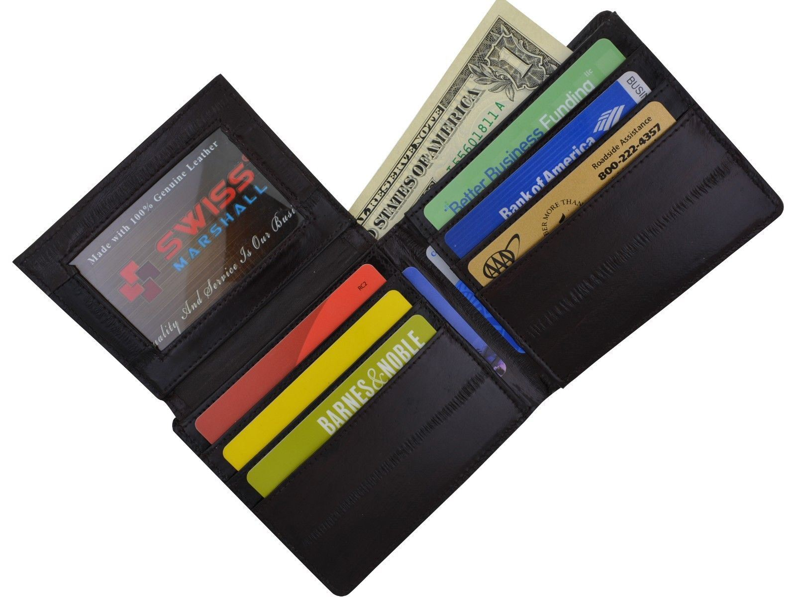 GENUINE EEL SKIN Bifold Credit Business Card id Holder Case Wallet NEW