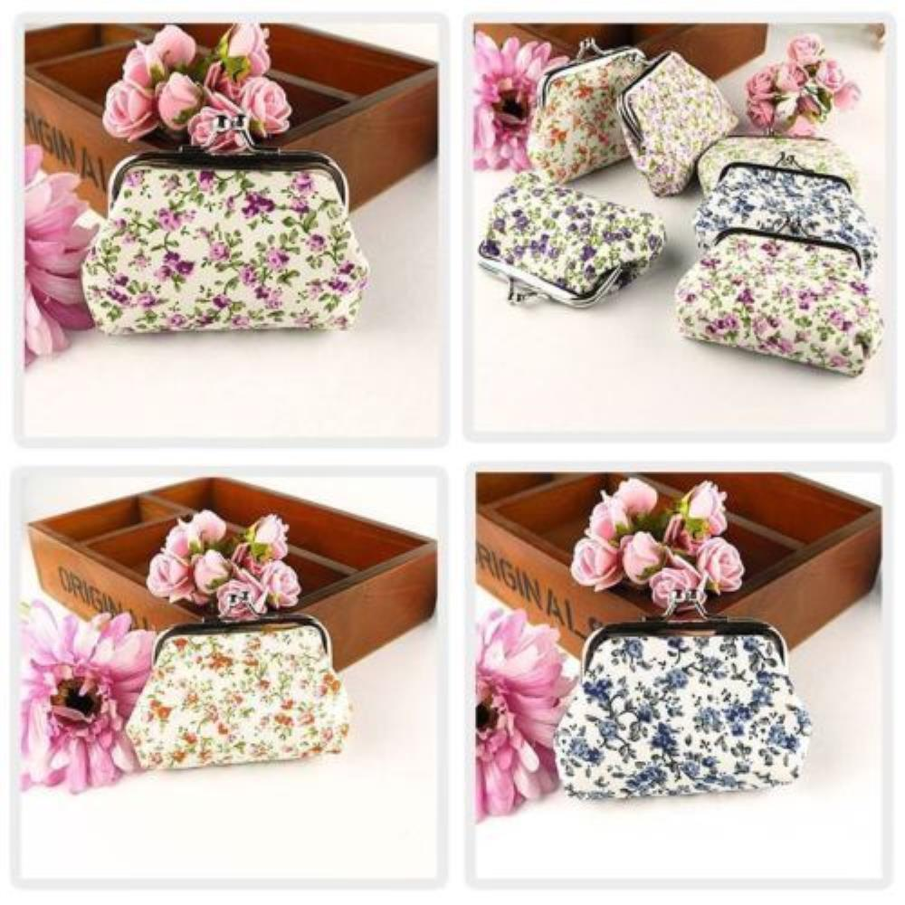 New Ladies Vintage Style Coin Purse Floral Money Pouch Rose Clutch Gift