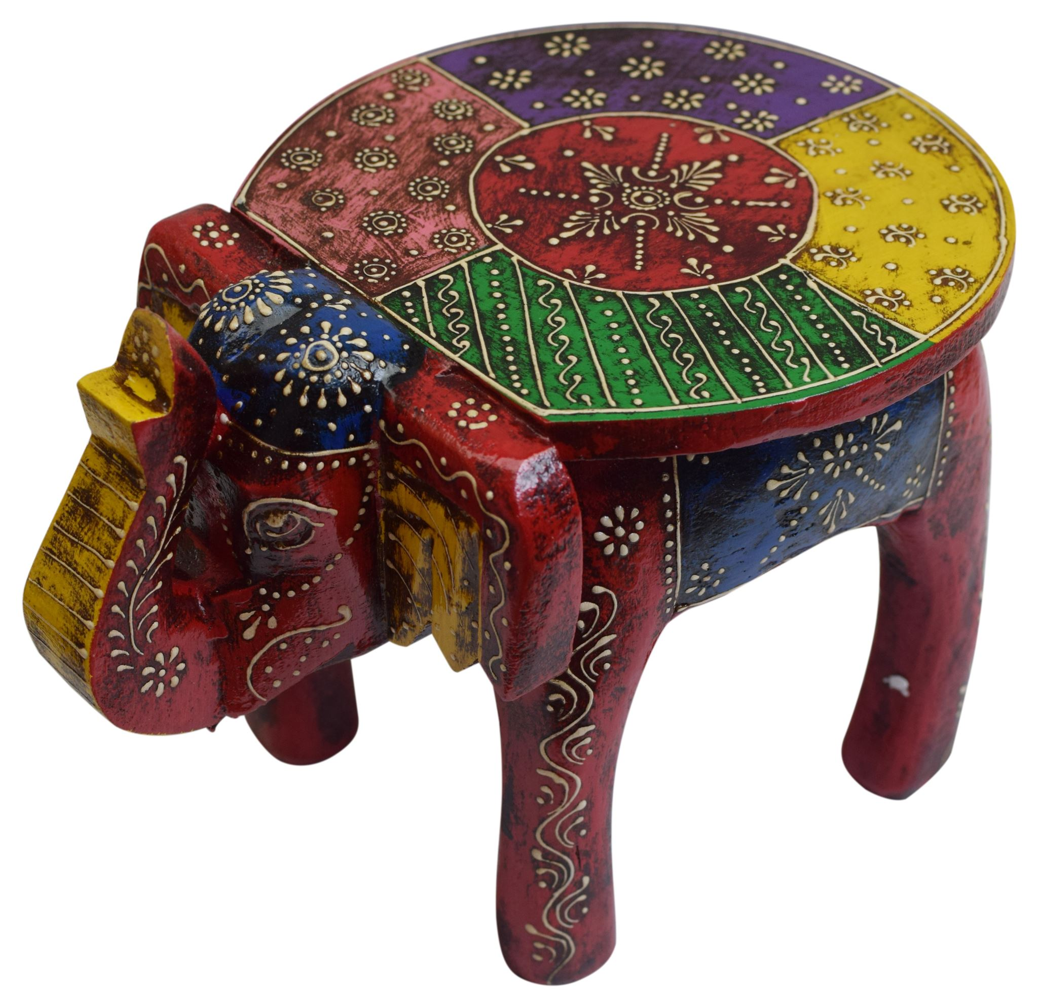 Pleasant Details About Colorful Wooden Elephant Stool Wood Footstool Gift Onthecornerstone Fun Painted Chair Ideas Images Onthecornerstoneorg
