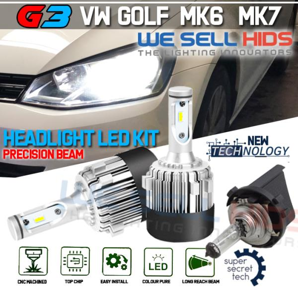 H7 G3 COB LED Headlight Bulbs Kit 7600 Lumens Canbus 72W HID 2x