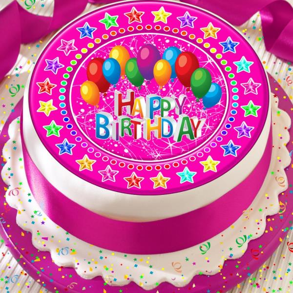 Miraculous Happy Birthday Balloons Pink Star Border 7 5 Inch Precut Edible Funny Birthday Cards Online Alyptdamsfinfo
