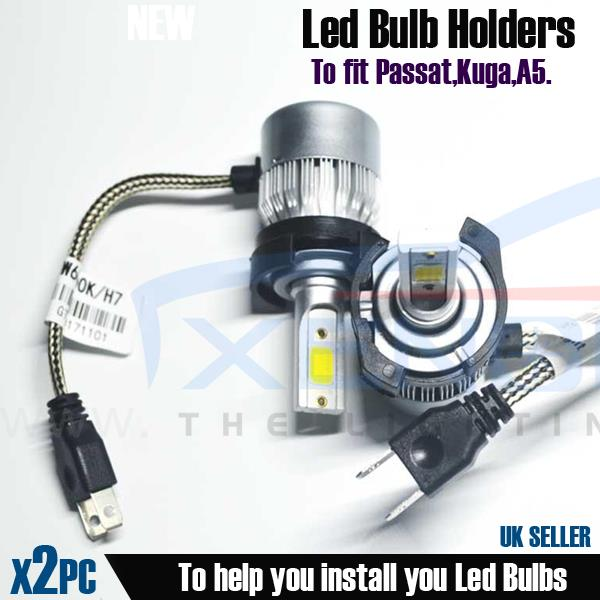 2x H7 LED Headlight Bulb Holder Socket Adapter Kit Passat Kuga B9