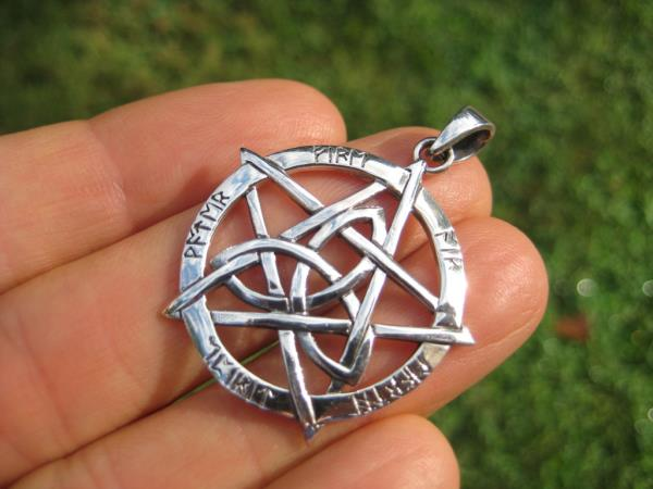 925 Sterling Silver Wicca Double Pentagram Pendant Necklace A42