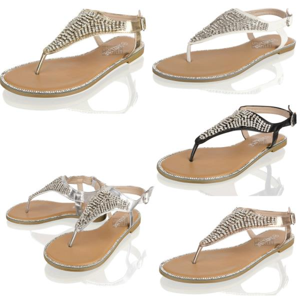 Womens Ladies Summer Crystal Diamate Gladiator Sandals Beach Party Shoes Size