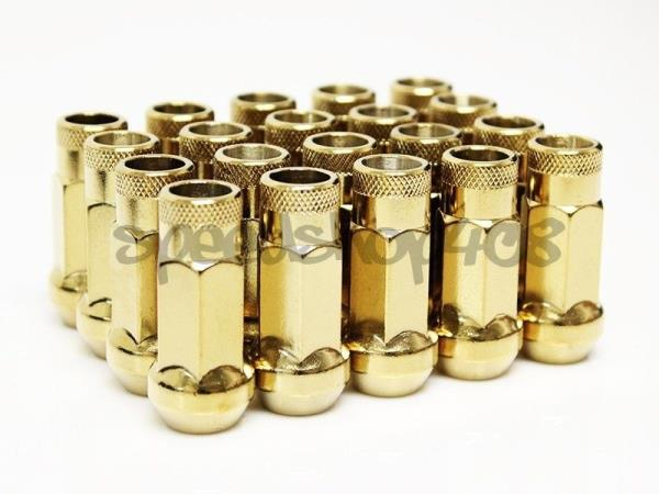 Z RACING GOLD 4 PIECES LOCKS LUG NUTS 12X1.5MM OPEN EXTENDED KEY TUNER