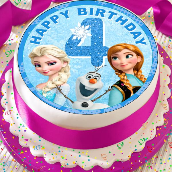 Remarkable Frozen Elsa Anna Happy 4Th Birthday Precut Edible 7 5 Inch Cake Birthday Cards Printable Opercafe Filternl