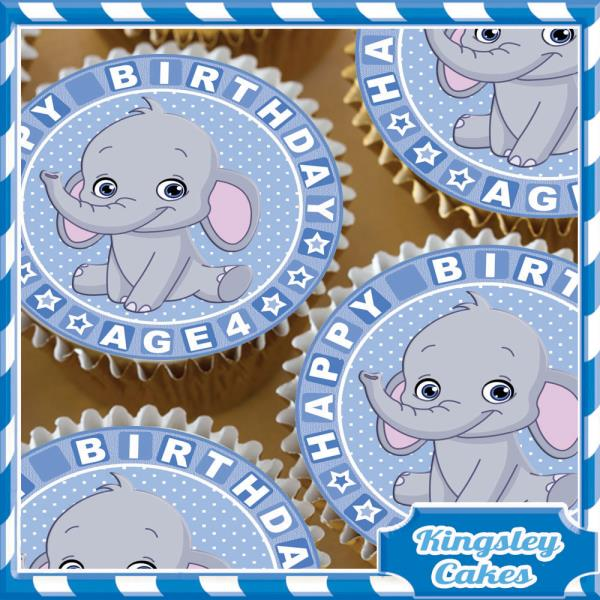 EDIBLE ICING SHEET 24 X BLUE ELEPHANT 4TH BIRTHDAY CUPCAKE TOPPERS KC0301-24