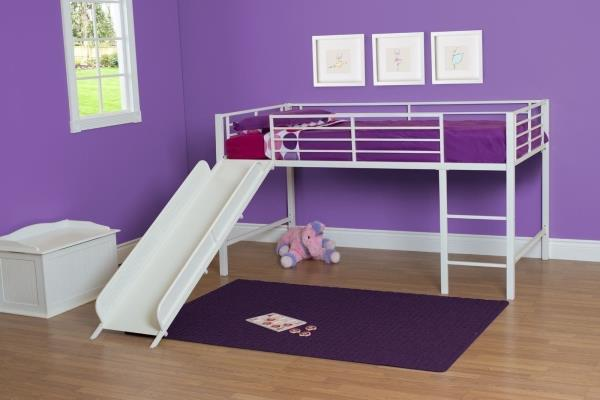 White Junior Loft Bed With Metal Slide Twin Size Bunk Kids Play