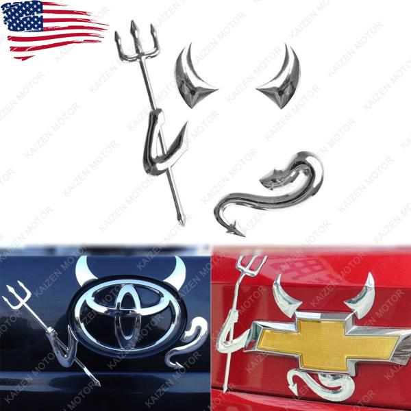 Car Sticker 4 Pcs 3D Chrome Devil Auto Logo Decal  Truck Custom Demon Universal