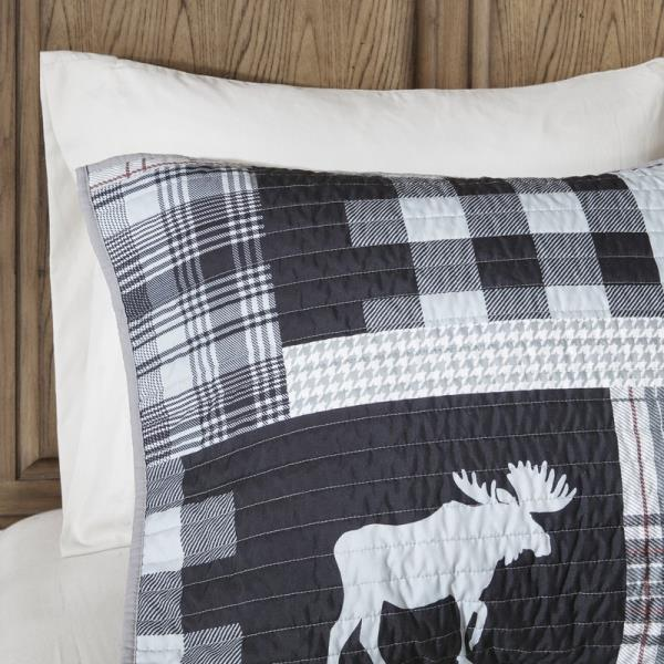 Full Queen King Bed Black Gray Plaid Moose Lodge Cabin 4 pc Quilt Set Coverlet