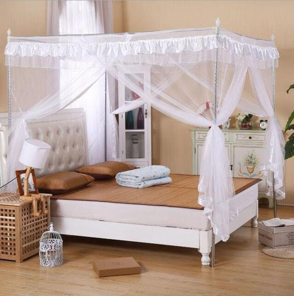 Details about Solid White Ruffled Four 4 Post Bed Canopy Netting Curtains  Sheer Panel ANY SIZE
