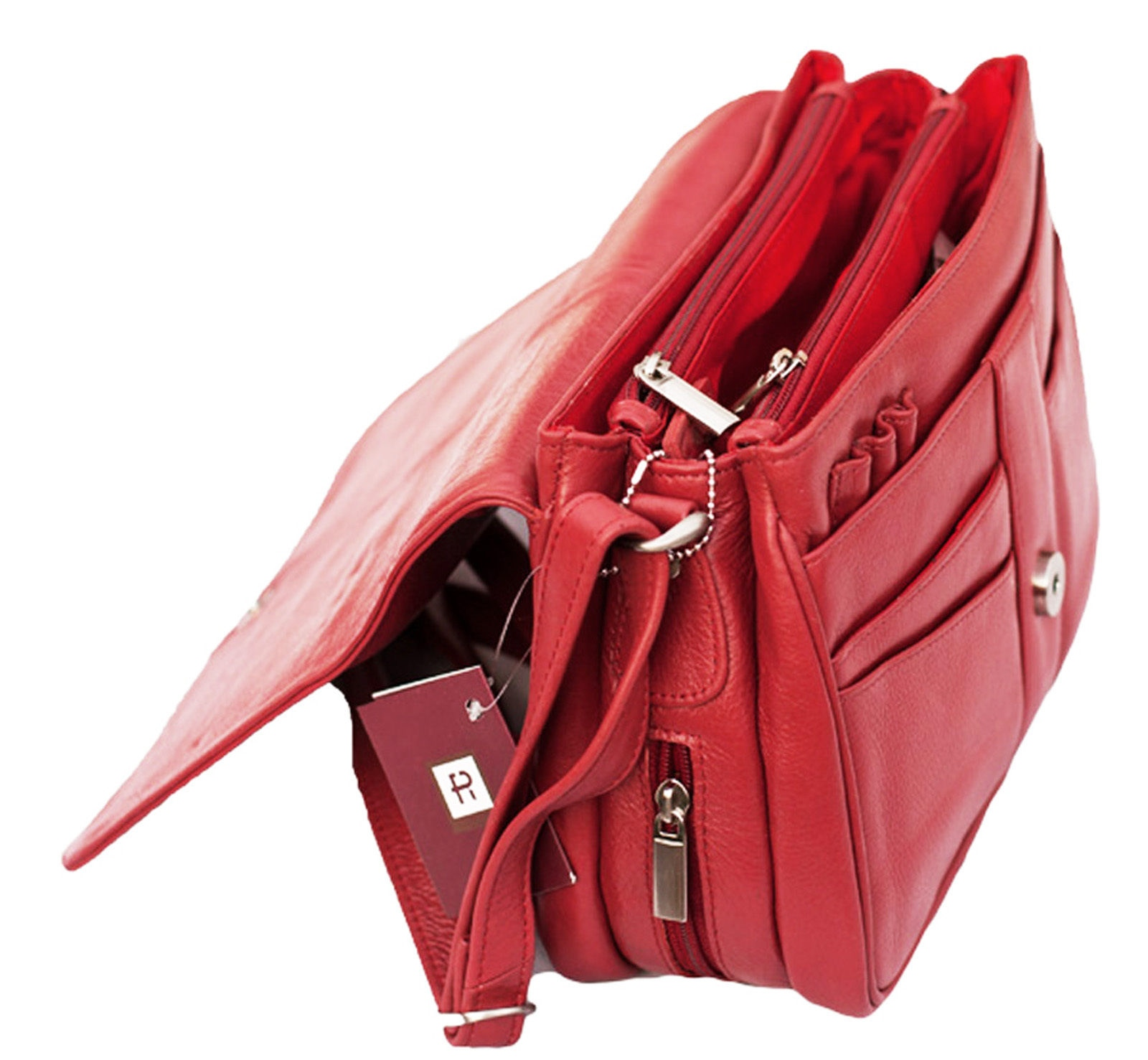 Prime Hide Victoria Soft  Red leather Ladies Flapover Bag Red Crossbody Bag